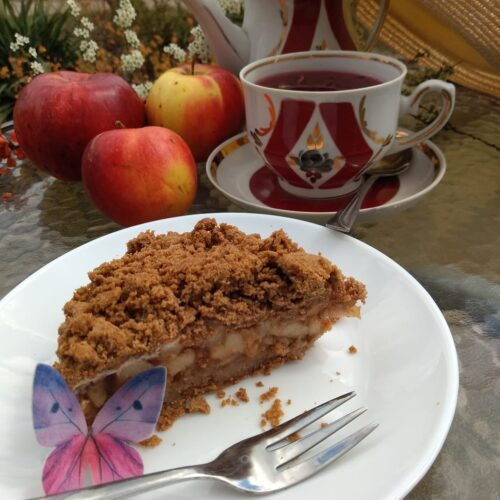 pie de manzana con harina de trigo sarraceno y sin azucar