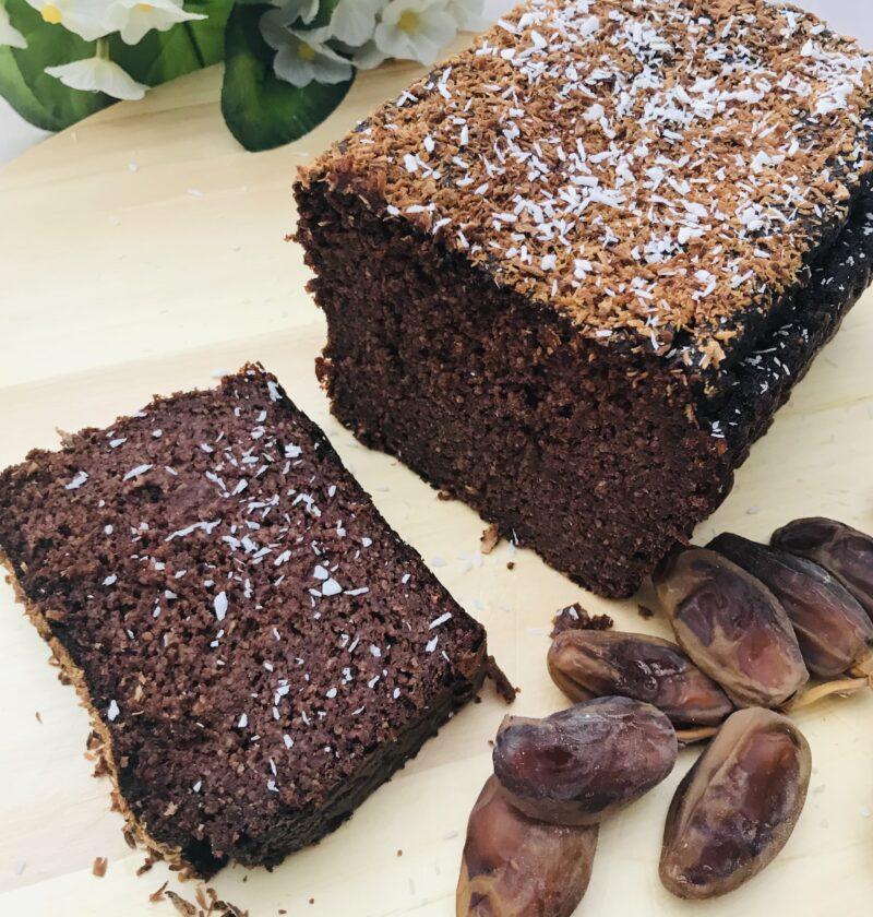 bizcocho de platano con cacao sin azucar endulzantes naturales, dátiles