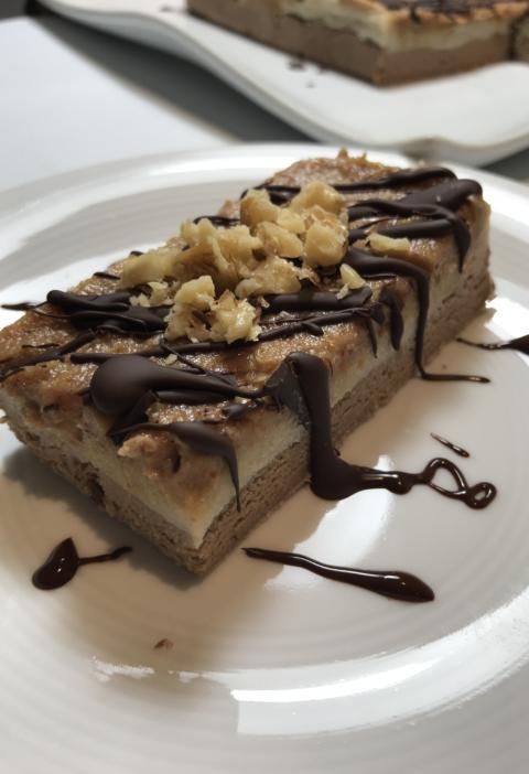 fit tarta snickers, la mejor receta, sin gluten, sin azucar, sin harina, con garbanzos
